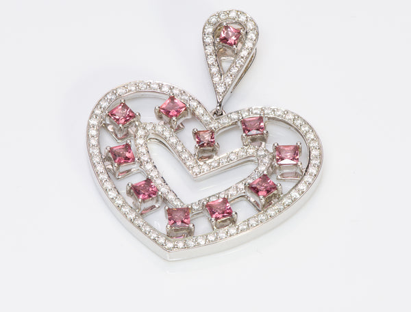 Estate Ruby Diamond Gold Heart Pendant