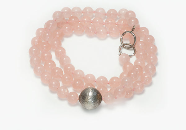 Tiffany & Co. Rose Quartz Silver Bead Necklace