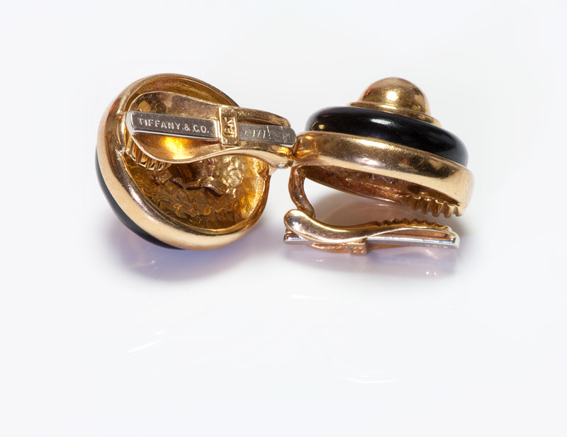 Tiffany & Co. Onyx Gold Button Dome Clip Earrings
