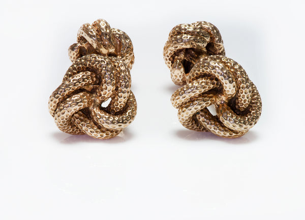 Vintage Tiffany & Co. Textured Gold Knot Cufflinks
