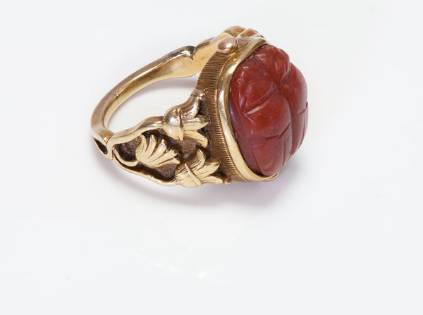 Antique Tiffany & Co. Gold Carved Stone Scarab Ring