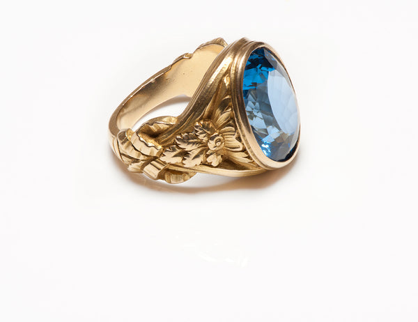 Mens Art Nouveau Blue Topaz Gold Men's Ring