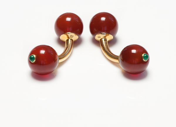 Trianon Carnelian Emerald Ball Cufflinks
