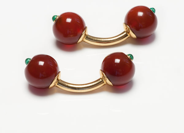 Trianon Gold Carnelian Emerald Ball Cufflinks
