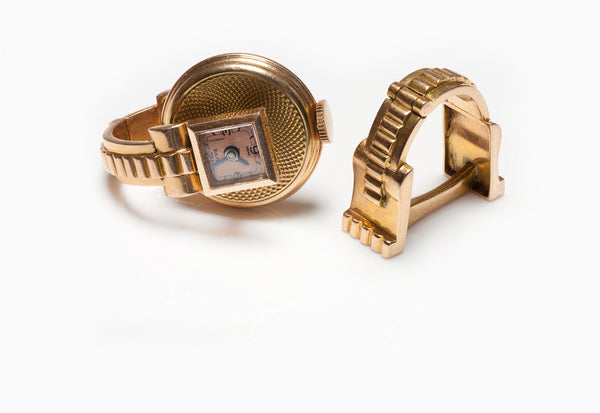 Rare Vintage 1930's UTI 18K Gold Watch Cufflinks
