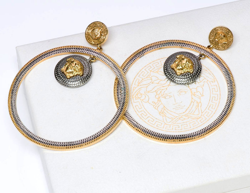 Vintage Versace Medusa Hoop Earrings 2
