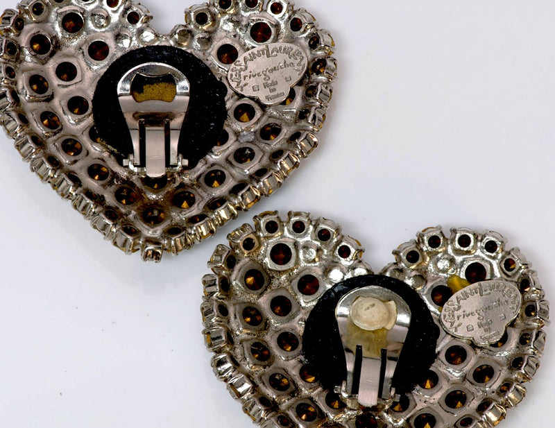 Yves Saint Laurent YSL 1970's Rive Gauche Heart Crystal Earrings 2