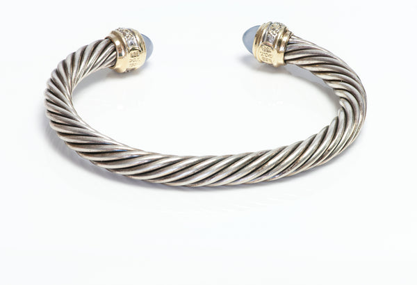 David Yurman 18K Gold S Chalcedony Diamond Cable Bracelet