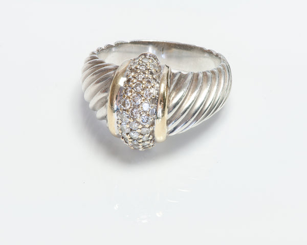 David Yurman 18K Gold Silver Diamond Dome Ring