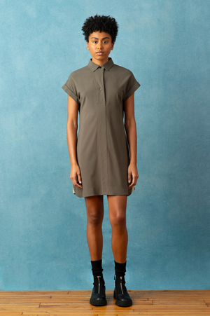 Short Sleeve Shirt Dress | Olive