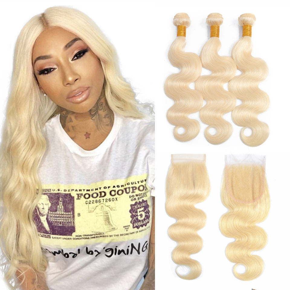 613 Blonde peruvian body wave 3 Bundles with 4*4/5*5 Lace Closure