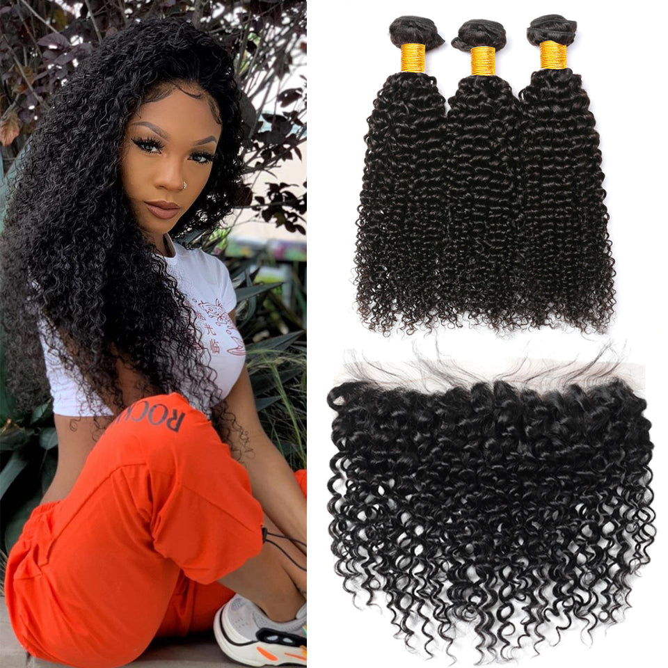 Indian Jerry Curly 3 bundles with 13*4/13*6 Lace Frontal Closure