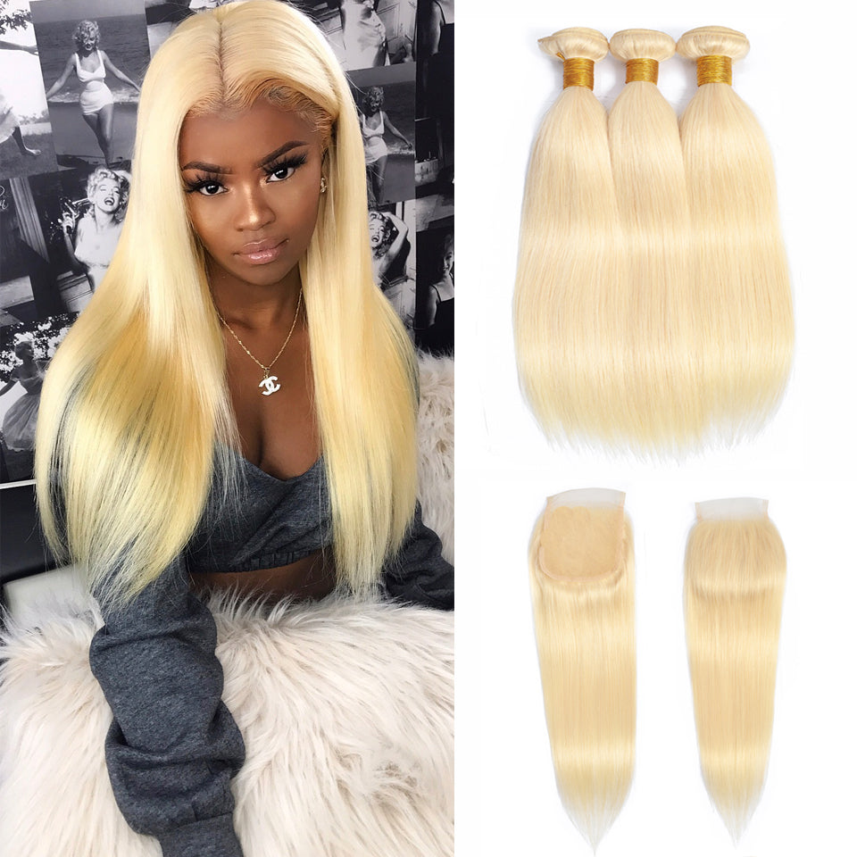 613 Blonde malaysian straight hair 3 Bundles with 4*4/5*5 Lace Closure