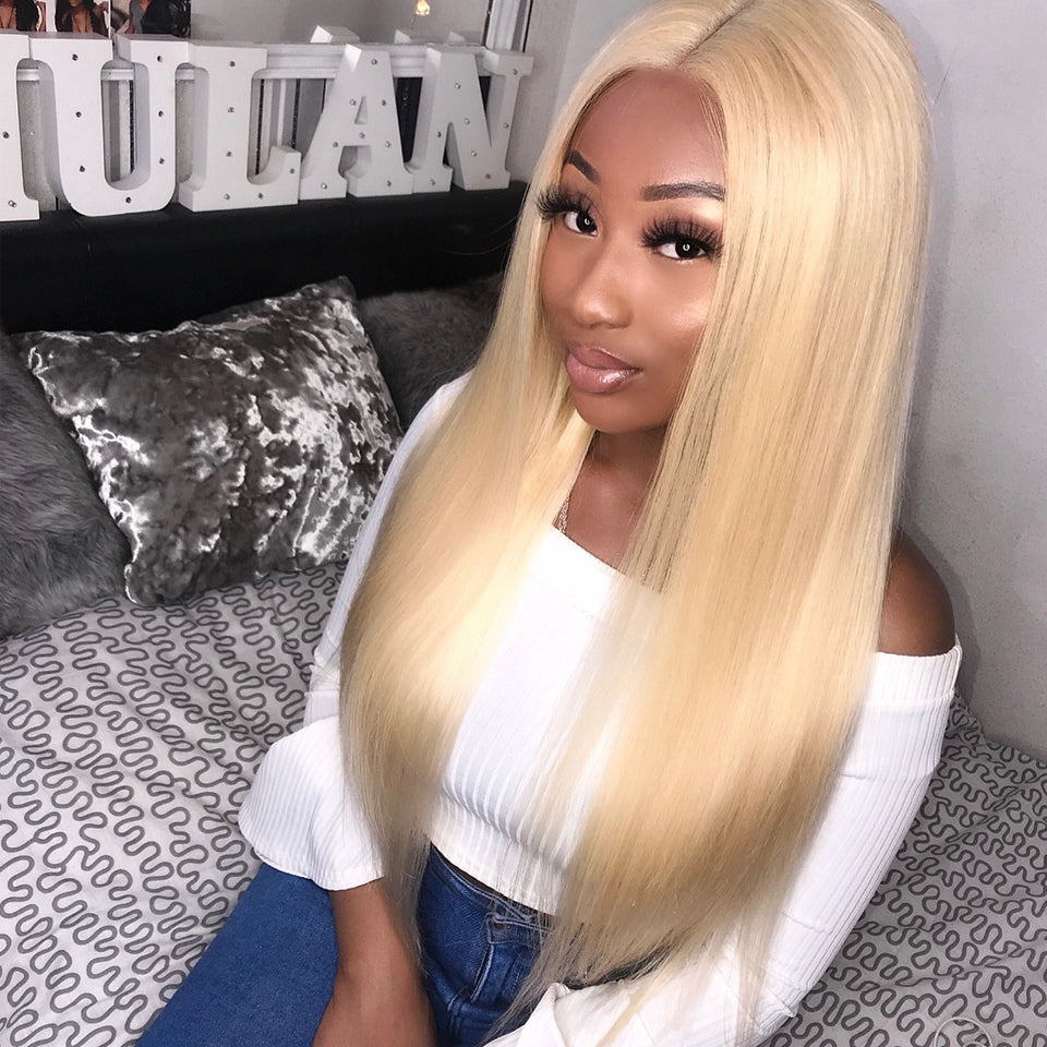 3 Bundles peruvian straight hair with 4*4/5*5 Lace Closure, 613 blonde color