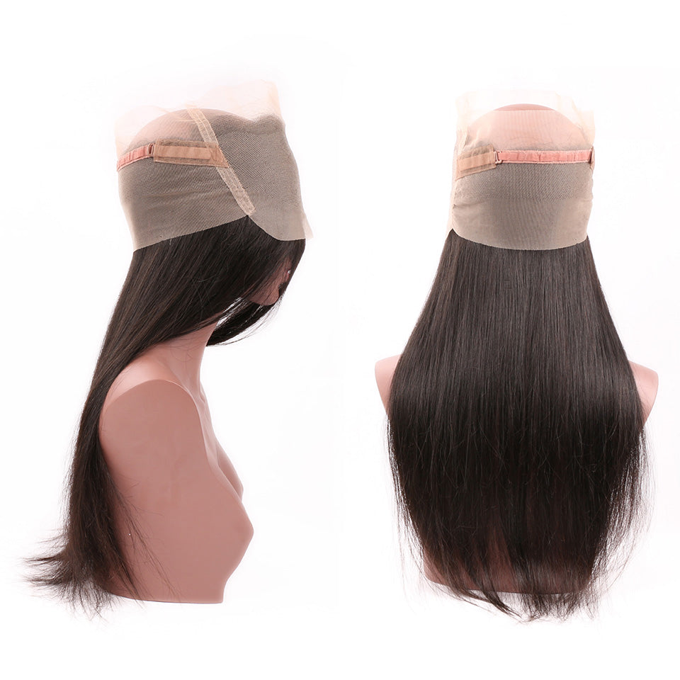 Straight Human Virgin Hair 1pc 360 Lace Frontal