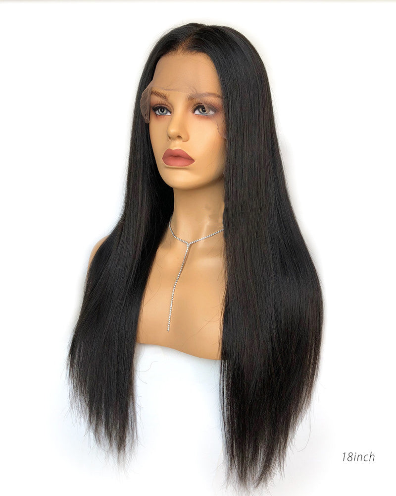 Luna Fake Scalp Pre-plucked Front Lace Wig Straight Human Hair,  Bleached Knots, No Cap Need!