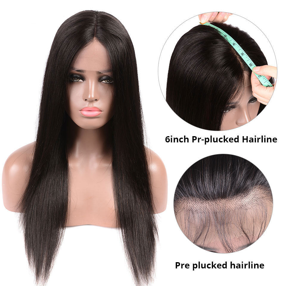6*6 Deep Parting Lace Front Wigs, Straight Hair, Lace Front Wigs With Baby Hair, Pre Plucked Swiss Lace Wigs
