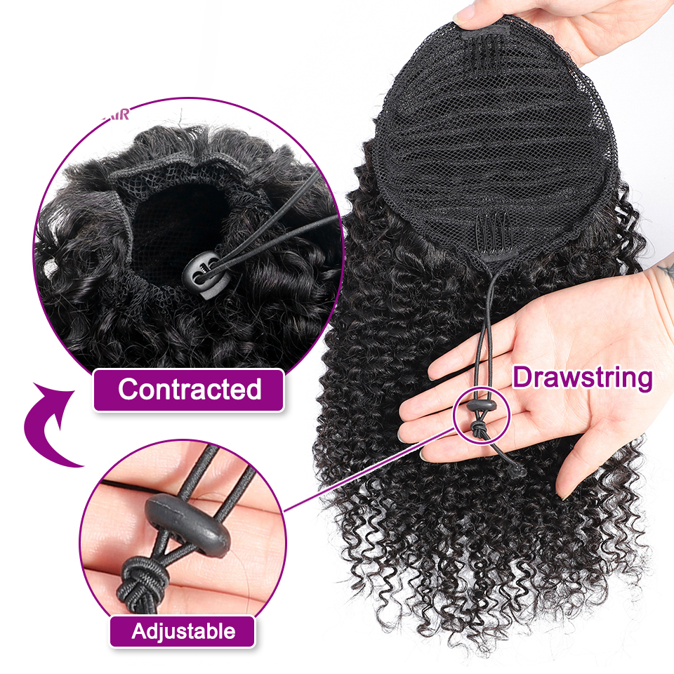 """Clutch"" Go-to Style 100% Virgin Human Hair Drawstring Ponytail, Clips In Hair Extensions"