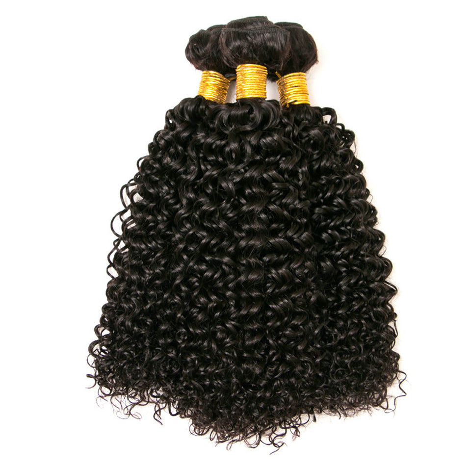 1 Bundle Jerry Curly Virgin Human Hair Weaves, Natural Color 8-30inch