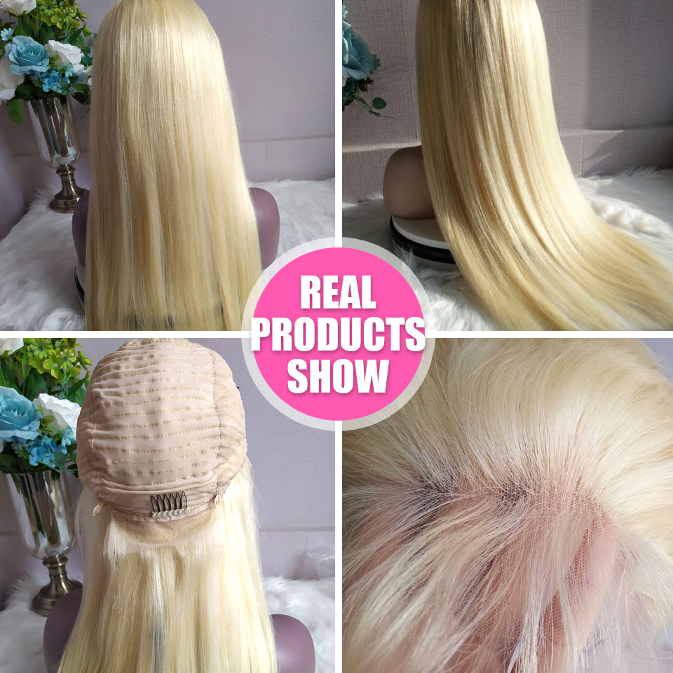 613 Blonde Brazilian Frontal Straight Human Hair Wig, Lace Front Blonde Wig 12-24inch