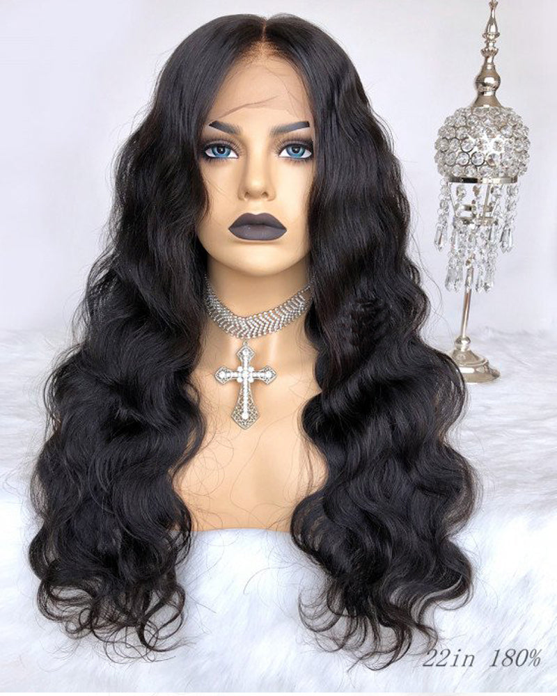 Luna Fake Scalp Pre-plucked Front Lace Wig, Body Wave, Bleached Knots, No Cap Need