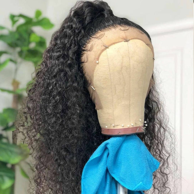 Jerry Curly 13*4 Lace Front Human Hair Wig, 10inch-24inch,150%/180% DensityNatural Black Color