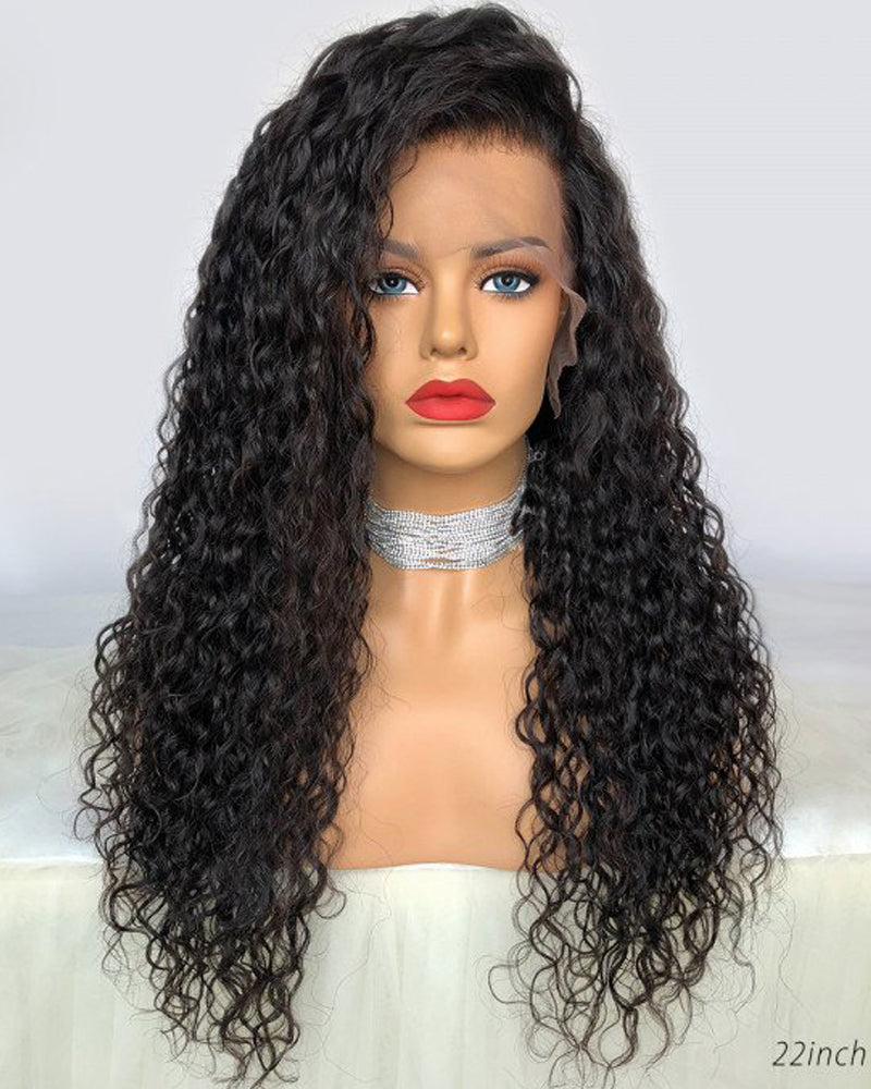 Luna Fake Scalp Pre-plucked Front Lace Wig, Deep Wave, Bleached Knots, No Cap Need