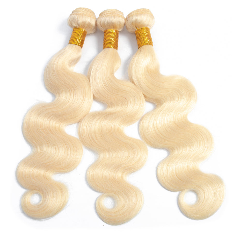 613 Blonde brazilian body wave 3 Bundles with 4*4/5*5 Lace Closure