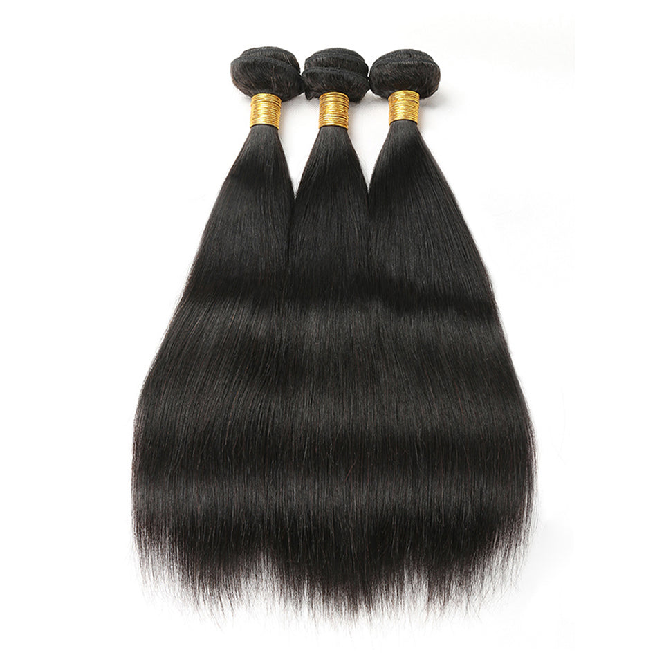 Indian Virgin Straight Hair 3 Bundles Deals, 100% Human hair weave,natural black color