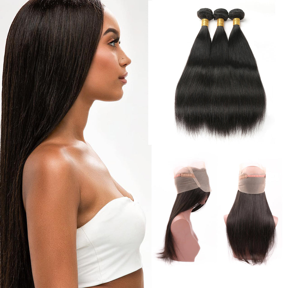 Virgin Brazilian Straight Hair 3 Bundles with 360 Lace Frontal Closure
