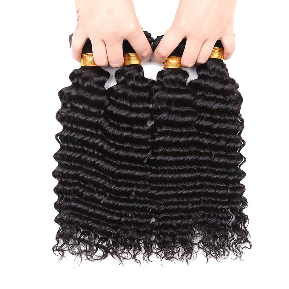4 bundles virgin malaysian deep wave  human hair weaves  8-30inch