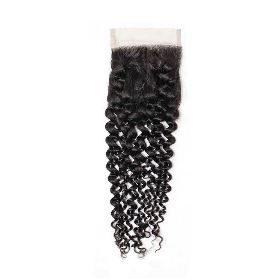 Jerry Curly  Human Hair 4x4/5*5/6*6 Lace Closure 1pc,free part
