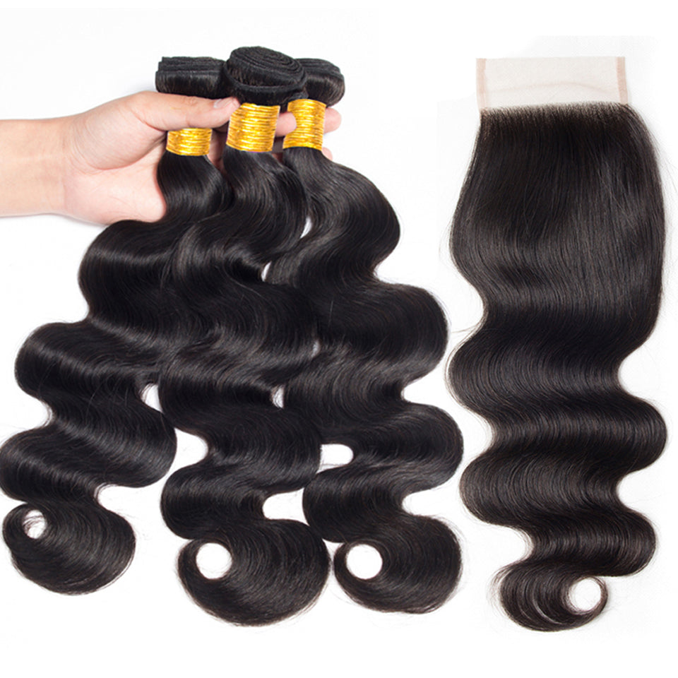 Virgin Malaysian Body Wave 3 Bundles with 4*4/5*5 Lace Closure, Free Part