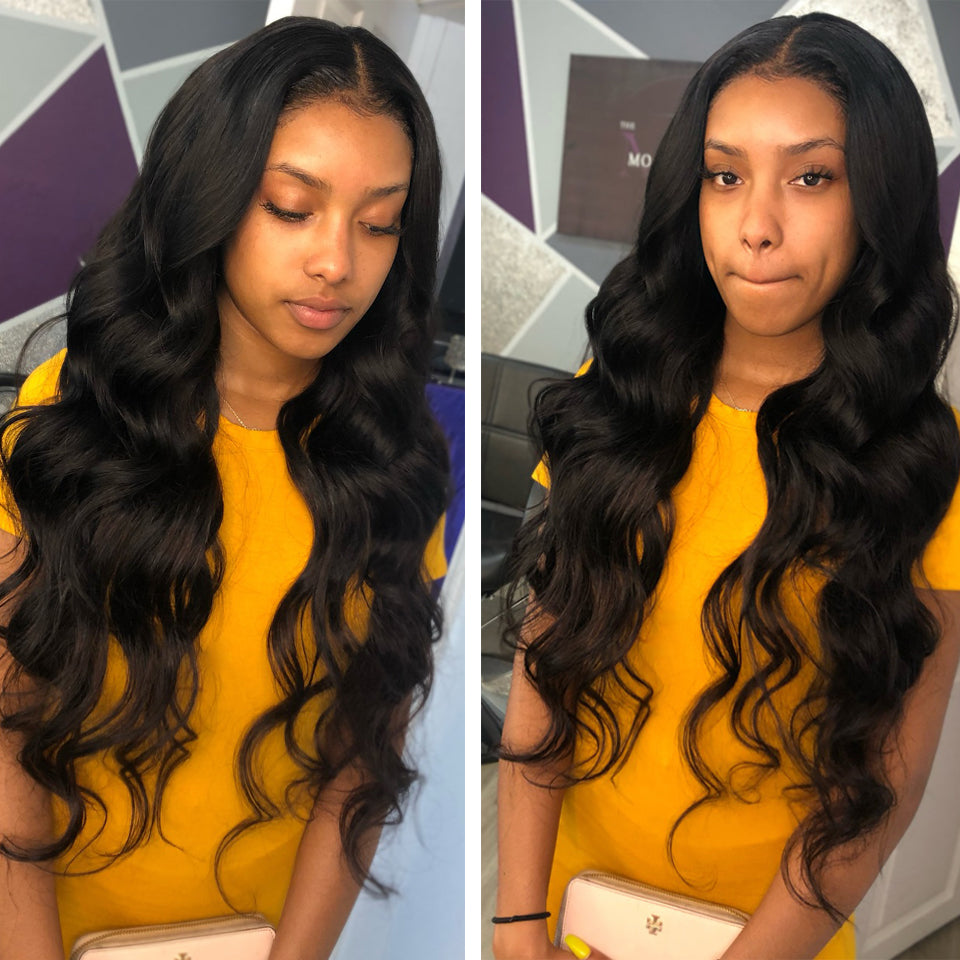 Brazilian Body Wave 3 Bundles with 4*4/5*5 Lace Closure, Free Part