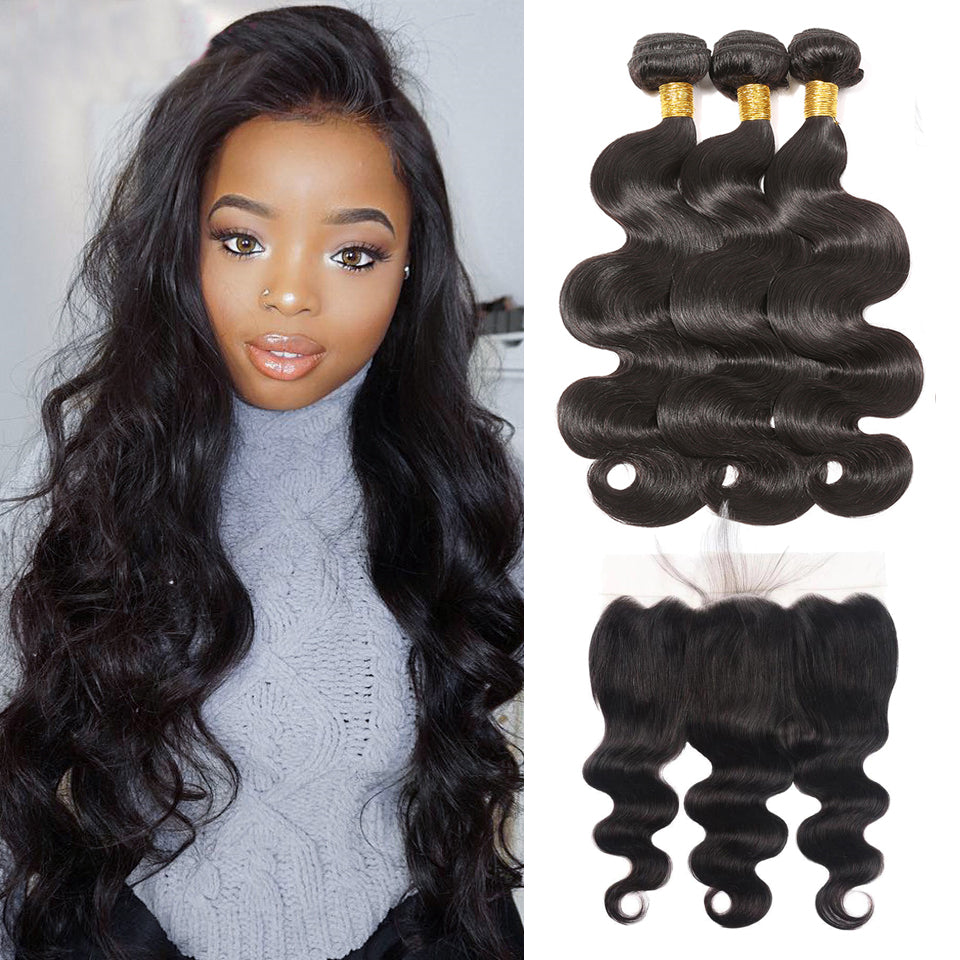 brazilian virgin body wave  3 bundles with 13*4/13*6 Lace Frontal Closure