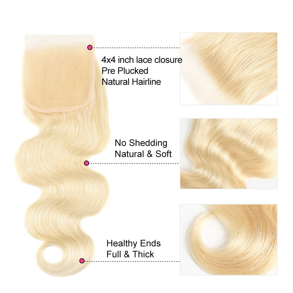 613 Blonde indian body wave 3 Bundles with 4*4/5*5 Lace Closure