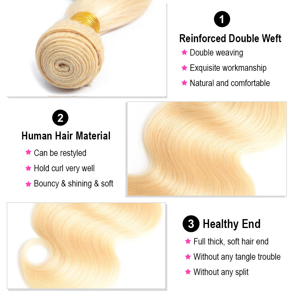 613 Blonde Color  peruvian Body Wave 3 bundles with frontal closure, 13*/13*6 ear to ear lace closure, free part