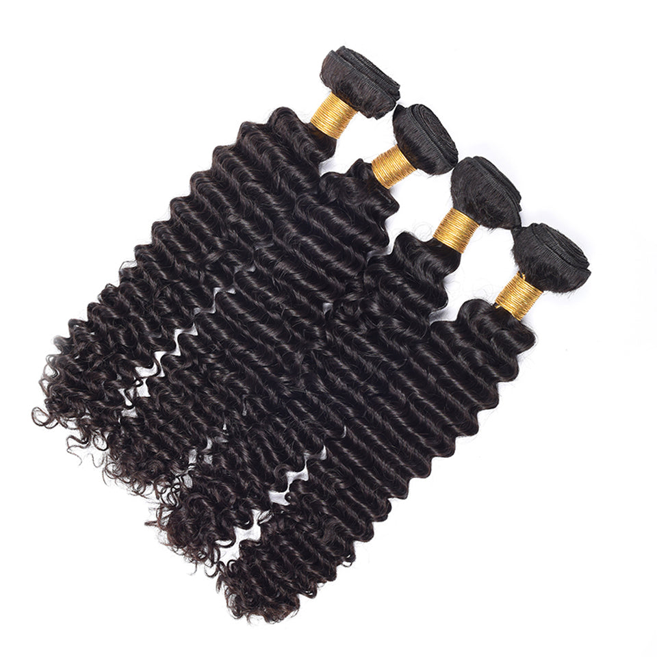 virgin peruvian deep wave  human hair weaves 4pcs/lot, natural black color,  8-30inch