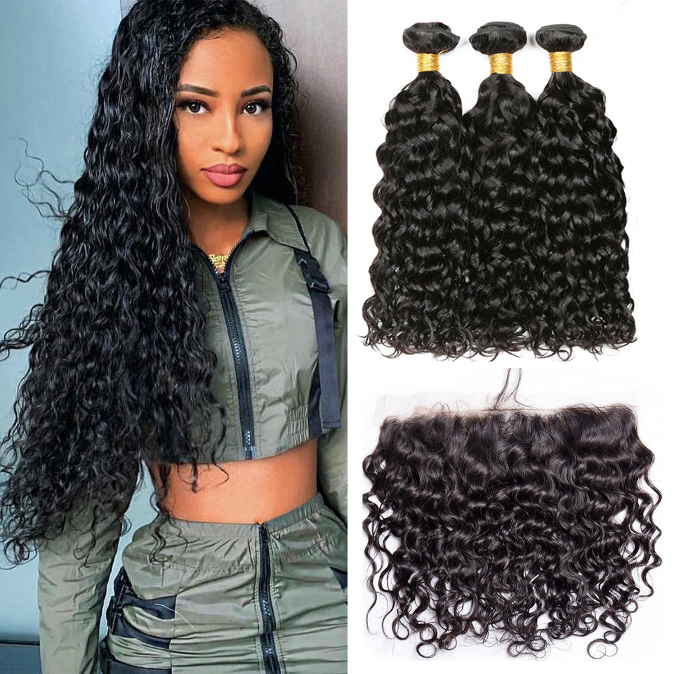 virgin brazilian water wave hair 3 bundles with 13*4/13*6 Lace Frontal Closure