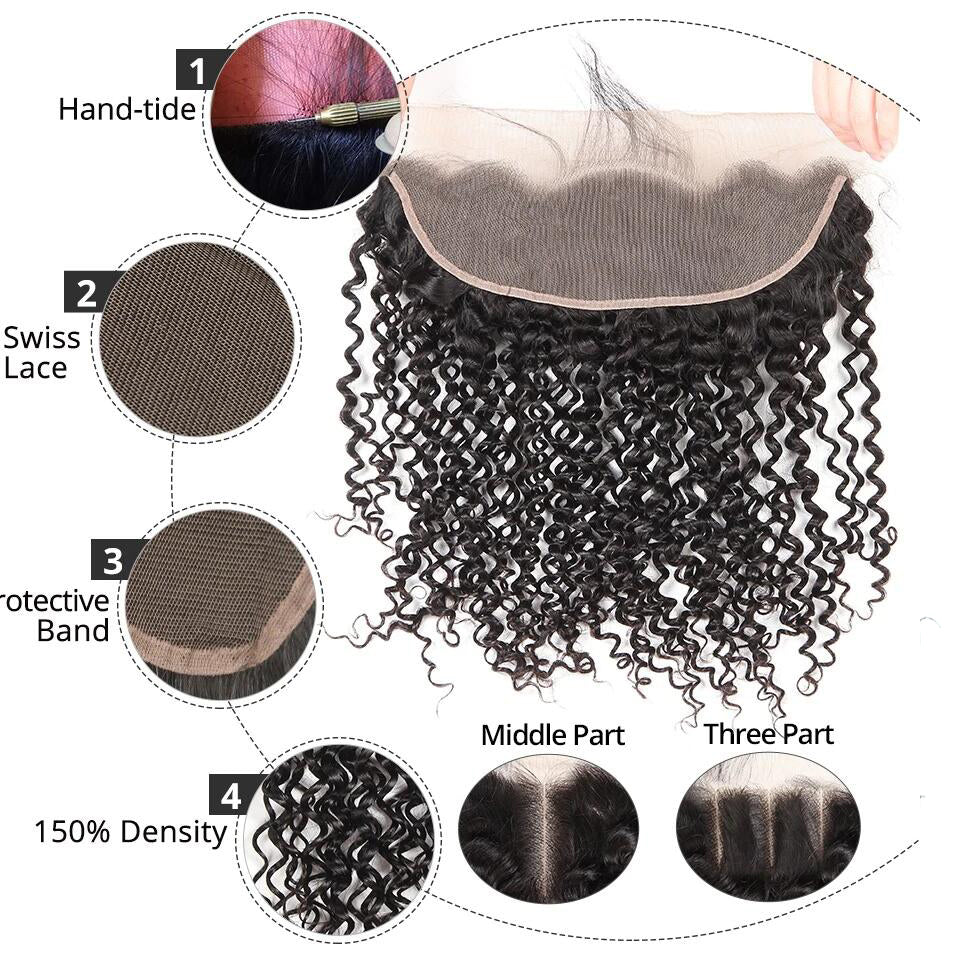 13*4 jerry curly  lace frontal human hair closure, ear to ear frontal closure
