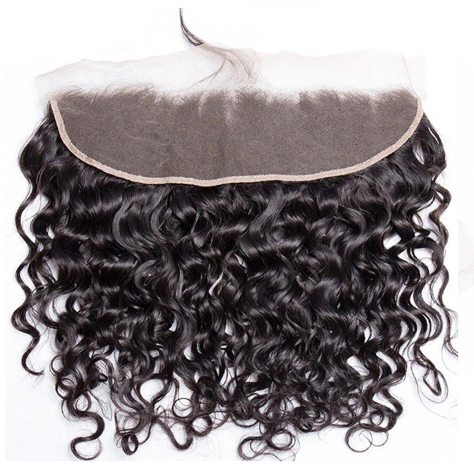 Peruvian  water wave hair 3 bundles with 13*4/13*6 Lace Frontal Closure