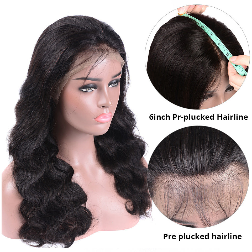 "13*6 Body Wave Lace Frontal Human Hair Wig, 150%/180%/250% Density, 6"" Deep Parting Lace Front Wig"