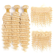 613 Blonde Brazilian Deep Wave 3 Bundles with frontal closure, free part, blonde hair weaves