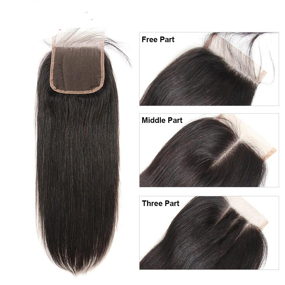 Straight Human Hair 4x4/5*5/6*6 Lace Closure 1pc,free part