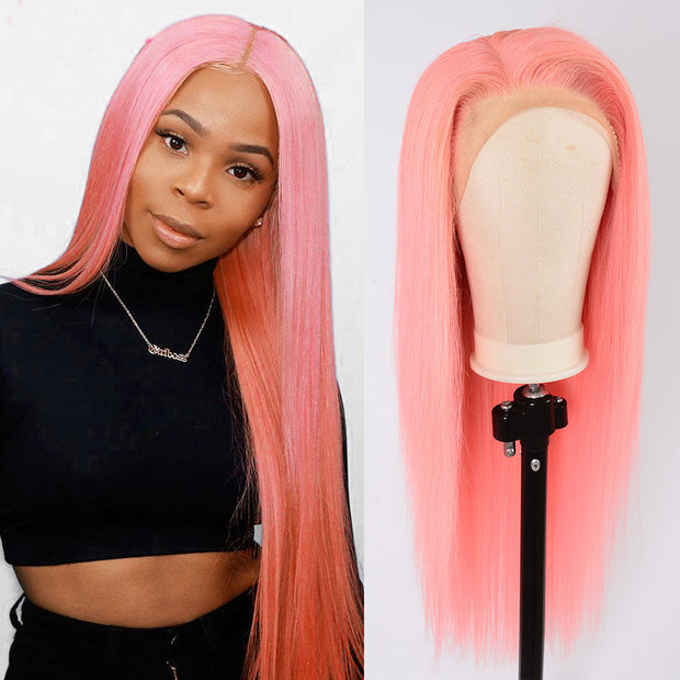 Pink Color straight hair Lace Human Hair Wig, Frontal human hair wigs, Full Lace Wig