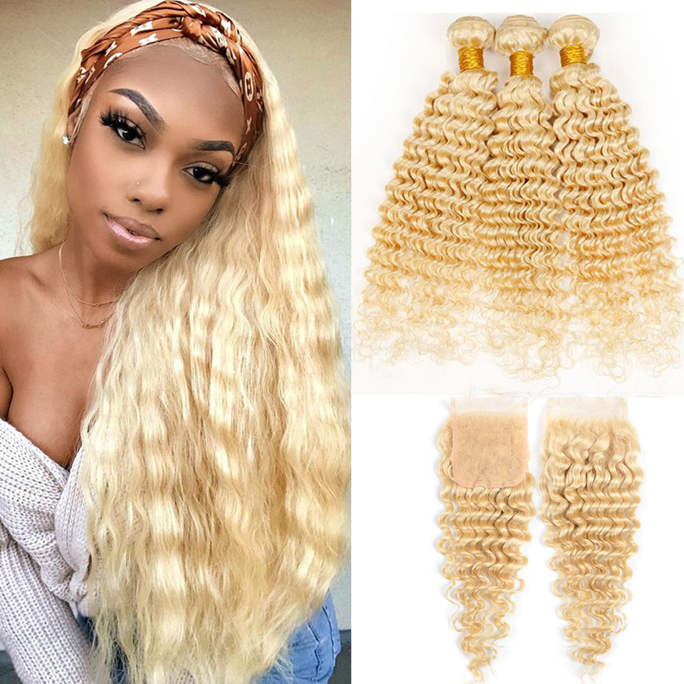 613 Blonde Indian Deep Wave 3 Bundles with 4*4/5*5 Lace Closure