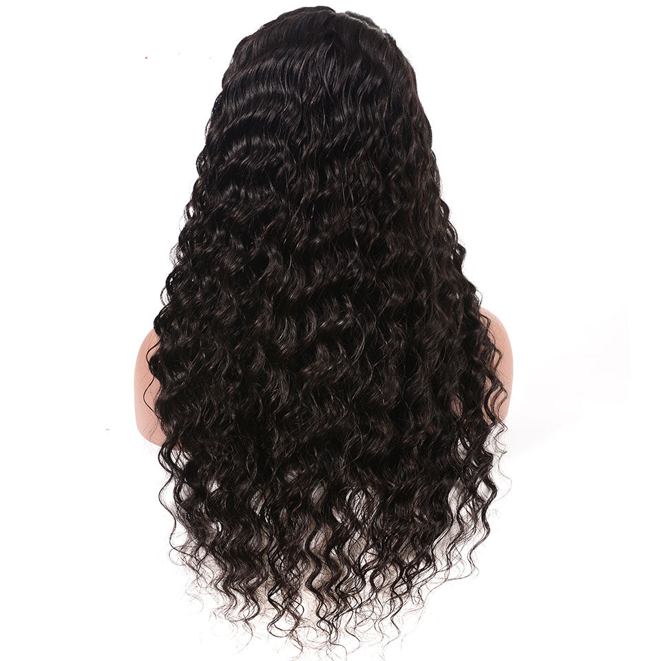 Lace Front Deep Wave Human Hair Wig, 10inch-24inch,Natural Black Color, 150%/180% Density