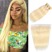 613 Brazilian straight hair 3 bundles with frontal closure, free part ear to ear lace closure