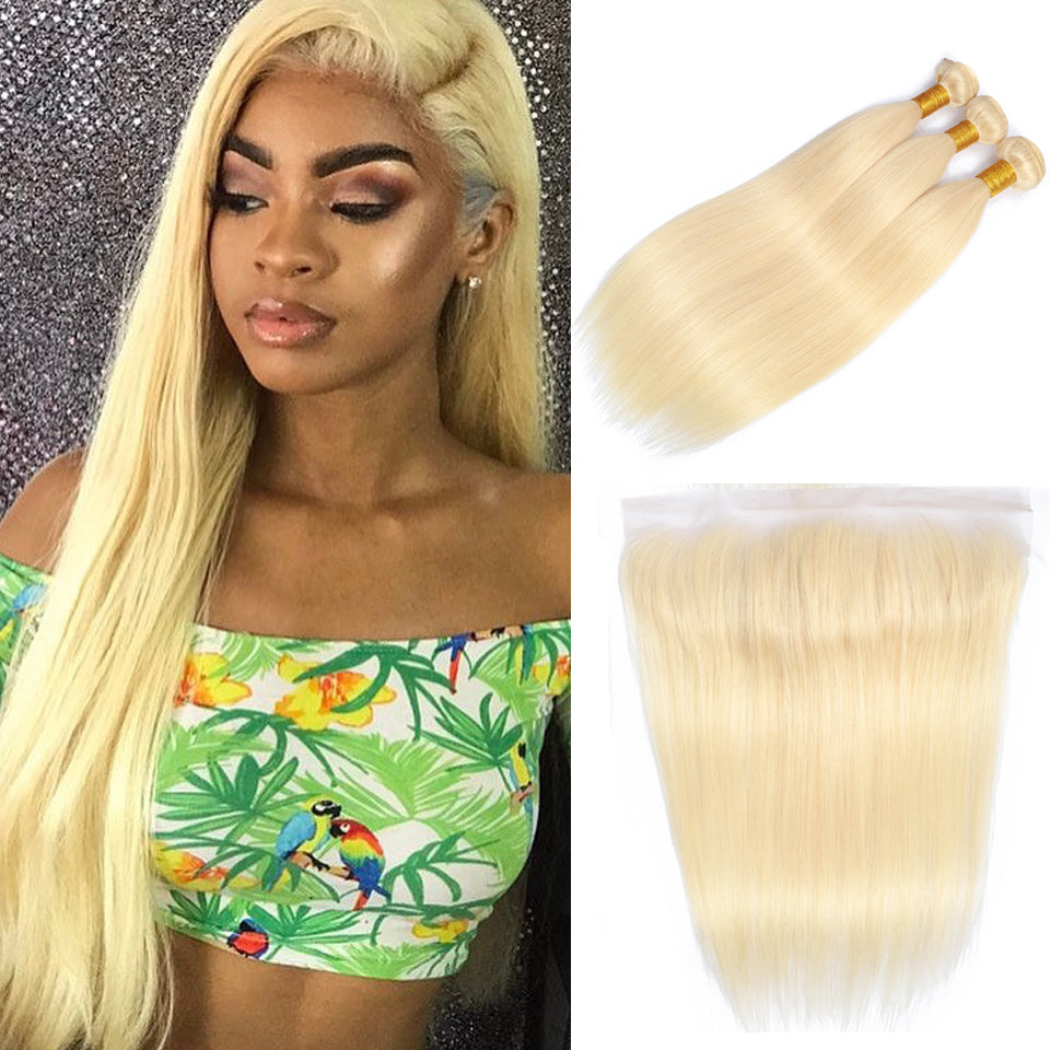 Blonde peruvian straight hair  3 bundles with frontal closure 613 color, free part ear to ear lace closure