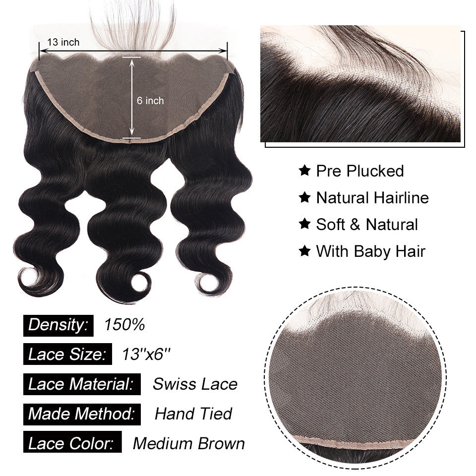 13*6/13*4 Ear to Ear Lace Frontal BODY WAVE  Human Hair Closure
